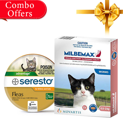 Seresto Cat Collar + Milbemax Cats Combo Pack for Cats